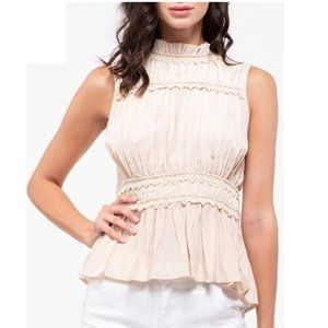 Anthropologie Moon River Lace Trim Peplum Top